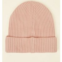 Pink Ribbed Beanie Hat New Look