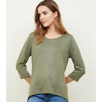 Olive Green 3/4 Sleeve Fine Knit Top New Look