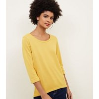 Yellow 3/4 Sleeve Fine Knit Top New Look