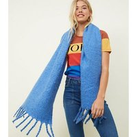 Blue Longline Bouclé Scarf New Look