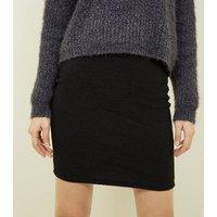 Black Textured Mini Tube Skirt New Look