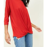 Red Twist Front Longline T-Shirt New Look