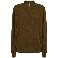 Khaki Borg Ring Zip Up Funnel Neck Sweatshirt New Look