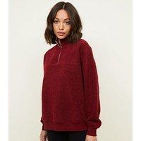 Burgundy Borg Ring Zip Up Funnel Neck Sweatshirt New Look