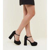 Wide Fit Black Suedette Flared Platform Heels New Look