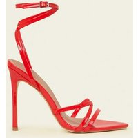 Red Patent Pointed Open Toe Strappy Stilettos New Look