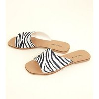 Black Suede Zebra Print Square Toe Mules New Look
