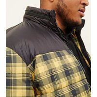 Plus Size Yellow Check Puffer Jacket New Look
