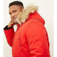 Plus Size Red Faux Fur Trim Hooded Parka New Look
