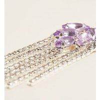 Lilac Diamante Chandelier Chain Earrings New Look