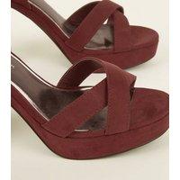 Wide Fit Dark Red Suedette Cross Strap Platform Heels New Look