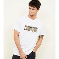 White Leopard Los Angeles Box Print T-Shirt New Look
