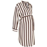 Maternity Off White Stripe Belted Shirt Dress New Look