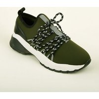 Khaki Limited Edition Hiker Lace Up Chunky Trainers New Look