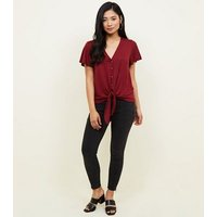 Petite Button Through Tie Front T-Shirt New Look