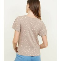 Camel Spot Print Button Tie Front Top New Look