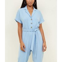 Petite Blue Button Front Tapered Jumpsuit New Look