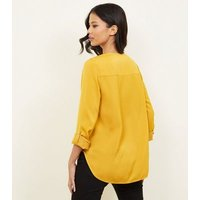yellow-satin-v-neck-shirt-new-look