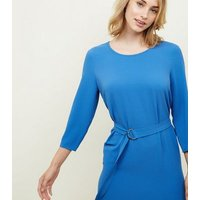Blue Crepe Belted Dip Hem Tunic Dress New Look