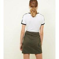 Khaki Cargo Denim Skirt New Look