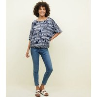 Apricot Navy Leaf Print Batwing Top New Look