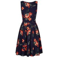 Apricot Navy Floral Tie Back Skater Dress New Look