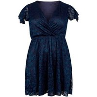 Mela Curves Navy Lace Frill Sleeve Dress New Look
