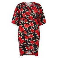 Mela Curves Black Floral Wrap Front Dress New Look
