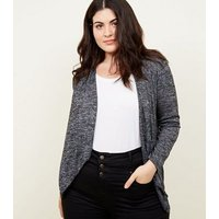 Mela Curves Grey Marl Knit Waterfall Cardigan New Look