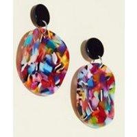 Multicoloured Drop Resin Disc Earrings New Look