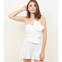 White Bow Front Strapless Playsuit New Look