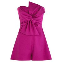 Purple Bow Front Strapless Playsuit New Look