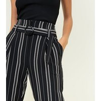 Black Stripe Belted Tapered Trousers New Look