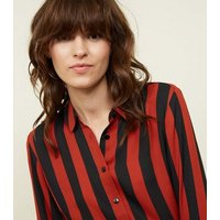 rust-stripe-collared-button-front-shirt-new-look