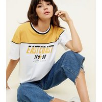 White East Coast Print Boxy T-Shirt New Look
