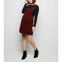 Maternity Burgundy Front Pocket Buckle Pinafore Dress New Look