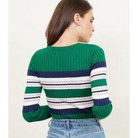 Green Stripe Ribbed Jumper New Look
