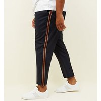 Plus Size Navy Side Tape Slim Fit Trousers New Look