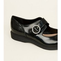 Black Patent Chunky Mary Jane Shoes New Look