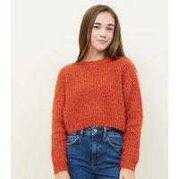 Girls Orange Fluffy Chenille Jumper New Look