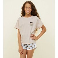 Girls Mid Pink Purrfect Cat Burger Pyjama Set New Look