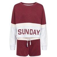 Girls Burgundy Sunday Colour Block Pyjama Set New Look
