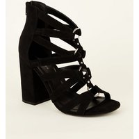 Black Suedette Ring Front Strappy Block Heels New Look