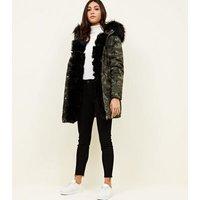 Khaki Camo Detachable Faux Fur Trim Parka New Look