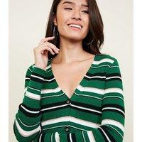 Green Multi Stripe Ribbed Cardigan New Look