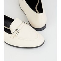 Off White Leather-Look Bar Front Loafers New Look