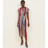 Multicoloured Stripe Revere Collar Jumpsuit New Look