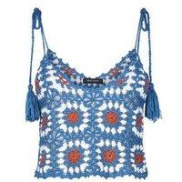 Blue Crochet Tassel Tie Crop Top New Look