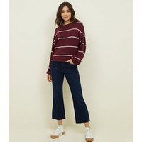 Burgundy Stripe Brushed Fine Knit Balloon Sleeve Top New Look