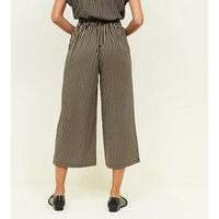 Black Stripe Twill Belted Culottes New Look